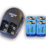 T-228 Plug-in Compact Charger with 4 pcs of 9V 250mAh NiMH Batteries