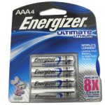 Card: 4pcs AAA 1.5V Energizer Ultimate Lithium Batteries