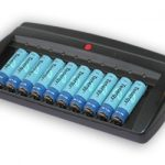 Combo: Tenergy T-6988 Smart 10-Bay NiMH Battery Charger + 10 AA 2600mAh NiMH Batteries