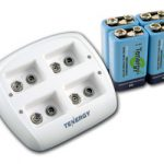 Combo: Tenergy TN136 4-bay 9V Smart Charger + 4pcs 9V 250mAh NiMH Rechargeable Batteries