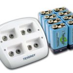 Combo: Tenergy TN136 4-bay 9V Smart Charger + 8pcs 9V 250mAh NiMH Rechargeable Batteries
