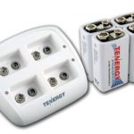 Combo: Tenergy TN136 4-bay 9V Smart Charger + 4pcs Premium 9V 200mAh NiMH Rechargeable Batteries