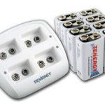 Combo: Tenergy TN136 4-bay 9V Smart Charger + 8pcs Premium 9V 200mAh NiMH Rechargeable Batteries