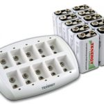 Combo: Tenergy TN137 10-bay 9V Smart Charger + 10pcs Centura 9V 200mAh (LSD) NiMH Rechargeable Batteries