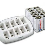 Combo: Tenergy TN137 10-bay 9V Smart Charger + 10pcs Premium 9V 200mAh NiMH Rechargeable Batteries