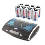 Combo: T9688 Universal LCD Battery Charger + 8 Premium D 10000mAh NiMH Rechargeable Batteries