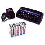 Combo: Tenergy T-6988 Smart 10-Channel NiMH Battery Charger + 10 AA Premium NiMH Batteries