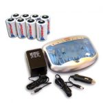 Combo: Tenergy T-2299 Universal Smart Charger + 8 Premium D 10000mAh NiMH Rechargeable Batteries