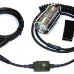 Single Helmet Mounted HID lights with light controller, wires, switch, and mount kit
